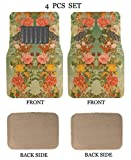 ALLBrand Universal Fit Front/Rear 4-Piece Full Set Sublimation Print Custom Design Carpet Car SUV Truck Floor Mats (Flower/Beige)