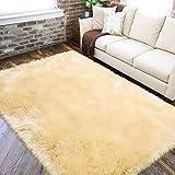 LOCHAS Ultra Soft Fluffy Rugs Faux Fur Sheepskin Area Rug for Bedroom Bedside Living Room Carpet Nursery Washable Floor Mat, 3x5 Feet Pale Yellow