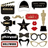 Hollywood Movie Night Photo Booth Props | FULLY ASSEMBLED | Hollywood Party Decorations | REAL GLITTER | Movie Night Party Supplies | Vintage Old Hollywood Theme Red Carpet Oscar | NO DIY (30 Pieces)