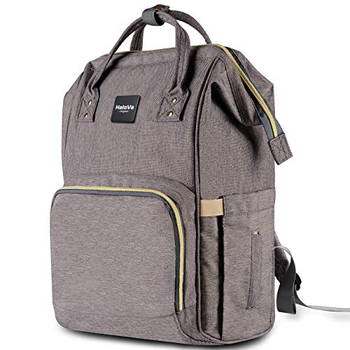 HaloVa Diaper Bag Multi-Function Waterproof Travel Backpack Nappy Bags for Baby Care, Large Capacity, Stylish and Durable, Gray…