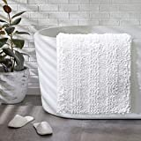 Chenille Bath Rugs - Non Slip Shaggy Doormat for Bedroom Living Room, Super Absorbent Washable Bath Mat Carpet - 20'x32',White