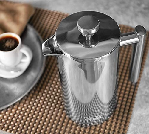 Mueller French Press Double Insulated 310 Stainless Steel Coffee Maker 4 Level Filtration System, No Coffee Grounds, Rust-Free, Dishwasher Safe 4