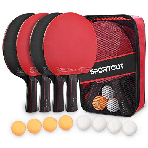 Easyroom Tischtennisschläger Set, 4 Tischtennis-Schläger + 8 Tischtennisbälle Tischtennis Schläger Set mit Tasche Profi Sport Set für Indoor & Outdoor Spiele