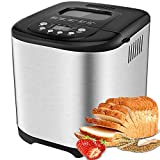 AICOOK Automatic Bread Maker, 2LB Programmable Bread Machine With LED Display, Visual Menu (13 Programs, 2 Loaf Sizes, 3 Crust Colors, 13 Hours Delay Timer, 1 Hour Keep Warm)