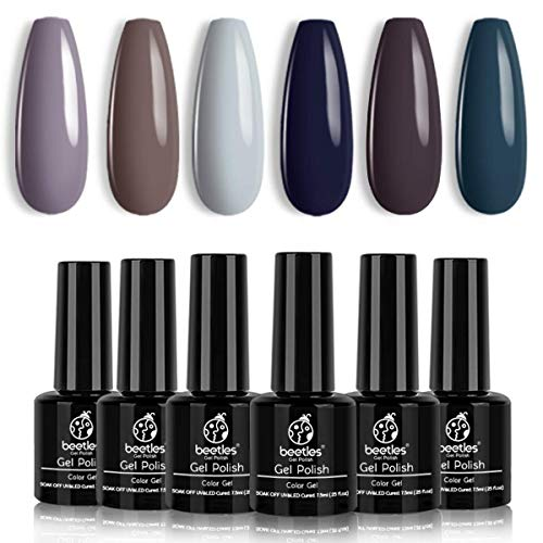 Beetles Gel Nail Polish Set - City in Snow Collection Light Blue Brown Neutral Mauve Color Perfect for Autumn and Winter Nail Art Manicure Kit Soak Off LED Gel Christmas Gel Set