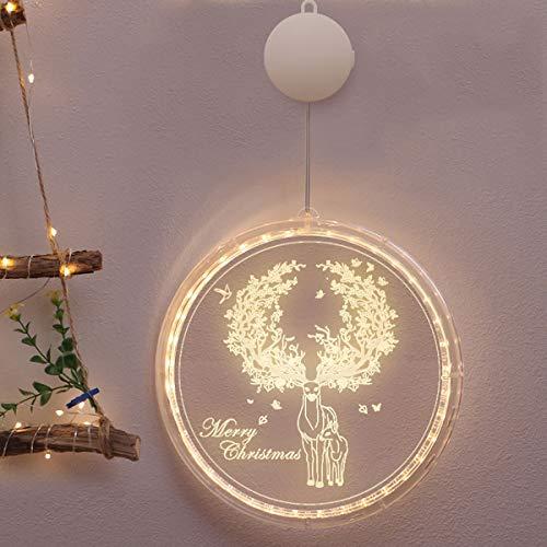 Decoración Navideña Cadena de Luz LED Colgante de Ventana Decorativo Cadena de Luz 3D Linterna de Navidad Árbol de Navidad Luces Colgantes para Interiores y Exteriores (Alce Navideño)