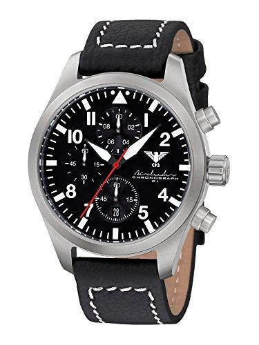 Airleader Steel Chronograph KHS.AIRSC.LBB Edelstahl, Büffel-Lederband, KHS Tactical Watch, Einsatzuhr, Fliegeruhr