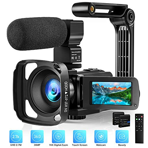 Video Camera with Microphone 2.7K Camcorder HD 36MP/30FPS YouTube Vlogging Camera IR Night...