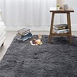 Bedsure Shag Area Rugs for Bedroom, Grey Soft Fluffy Living Room Rug 4 x 5.3 Feet, Fuzzy Rugs for Nursery Kids Room