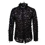 Aututer Camisa de Encaje de Plumas Negras Sexy Camisa de Vestir de Club Transparente de Moda para Hombres Camisa de Vestir Fiesta de Eventos para Hombres Camisa Informal Transparente