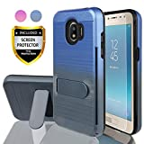 AYMECL Galaxy J2 Pro Case,Galaxy Grand Prime Pro Case with HD Screen Protector,[Card Slots Holder] Plastic TPU Hybrid Gradient Color Case for Samsung Galaxy J2 Pro 2018-GC Blue&Cyan