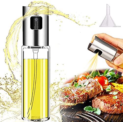 Pulverizador Aceite Spray Aceite Cocina 100ml Dispensador Aceite de Oliva Vinagre Rociador Aceitera Cristal para Barbacoa Hornear Asar Cocinar Ensalada