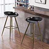 Set of 2 Bar Stools,Kitchen Counter Bar Breakfast Bar Chairs,Modern Minimalist Loft Style High Stools,Seat Height 27.6 Inches,with Low Backrest & Footrest,for Kitchen Island,Counter,PP Black & Bronze