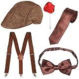 Beefunny Ensemble pour Les Hommes rugissants des années 1920 Costume Gangster Accessoires Bretelles à Nouer et nœud Papillon pré-noué, Cravate, Cigare Jouet et Fausse Moustache (Marron)