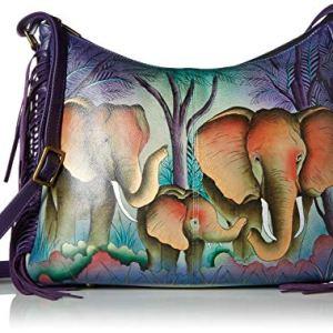 Anna by Anuschka Women's Genuine Leather Large Hobo Shoulder Bag   Hand Painted Original Artwork 5