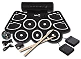 RockJam Portable MIDI Electronic Roll Up Drum Kit with Built in Speakers, Power Supply, Foot Pedals...