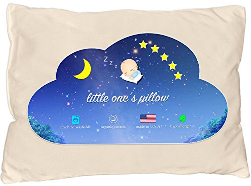 Little One's Pillow - Toddler Pillow, Delicate Organic Cotton Shell, Handcrafted in USA - Soft Yet Supportive, Washable 13 X 18