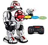Latest 2019 Model RoboShooter Remote Control Robot Toy For Boys & Girls Aged 5 6 7 8 9 And Up, Toy Robot For Kids Now With Voice Recording  RC Robot For 5+ Year Olds - Fires Disks, Dancing & Talks