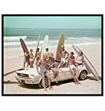 Vintage Mustang Classic Car Surfing Photo - Ocean Decor - Coastal Wall Art - Beach Wall Decor - Retro Tropical Summer Room Decor, Home Decorations for California, Hawaii Fans - Gift for Surf Fan