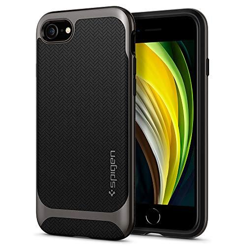 【Spigen】 iPhone SE ケース 第2世代 / iPhone8 / iPhone7 対応 新型 米軍MIL規格取得 二重構造 バンパー 耐衝撃 衝撃吸収 ワイヤレス充電 SE2 アイフォンSE (2020年モデル) アイフォン8 アイフォン7 カバー シュピゲン ネオ・ハイブリッド ヘリンボーン 054CS22197 (ガンメタル)