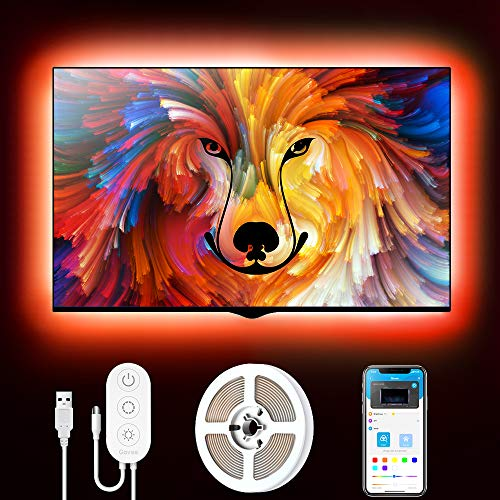 Govee Retroilluminazione 2m TV, Striscia LED RGB USB con App Control, Led Monitor 7 Modalit 16 Milioni Colori DIY per HDTV da 40-60 Pollici, 4  50cm, 5V, 2A