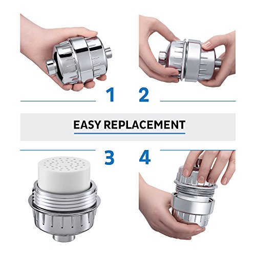 15 Stage Universal Replacement Cartridge with Vitamin C for Shower Filter - Water Softener Cartridge Removes Chlorine - Reduces Fluoride & Chloramine - Fits All the Similar Shower Filters