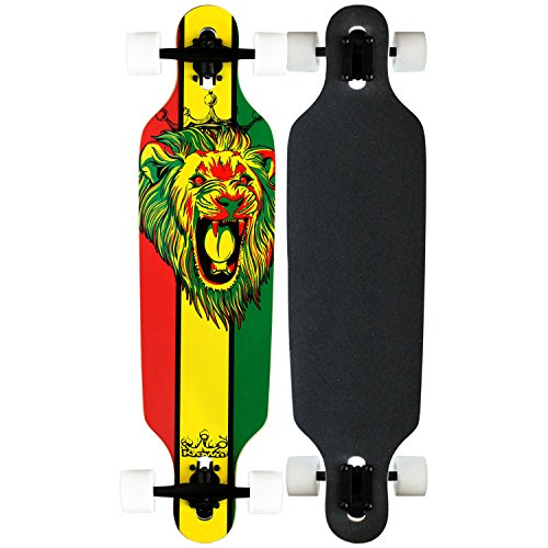Krown Elite Grey Stripe Elite Complete Longboard, 9x36-Inch