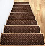 Carpet Stair Treads Set of 13 Non Slip/Skid Rubber Runner Mats or Rug Tread - Indoor Outdoor Pet Dog Stair Treads Pads - Non-Slip Stairway Carpet Rugs (Brown) 8' x 30' Includes Adhesive Tape