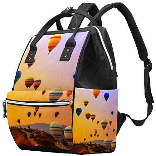 Hot Air Balloons Landing in Mountain Cappadocia Goreme National Park Diaper Tote Bags Mummy Backpack Large Capacity Nappy Bag Nursing Traveling Bag for Baby Care