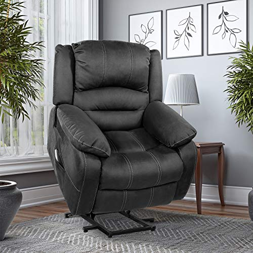 OT QOMOTOP Recliner Chair, Electric Power Lift Chair, Soft Fabric Design for Elderly People with Side Pockets & USB Ports, Supports up to 360 lbs (Grey)