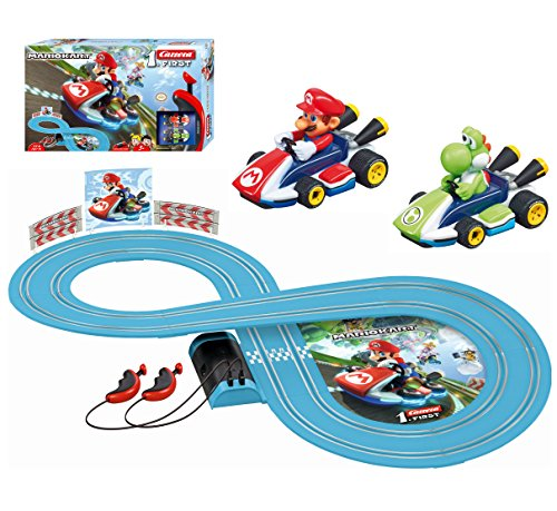 Carrera First Nintendo Mario Kart Slot Car Race Track - Includes 2 Cars: Mario and Yoshi and Two-Controllers - Battery-Powered Beginner Set for Kids Ages 3 Years and Up