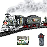 RC Military Train Toy Battery Operated W/ LED Lights , Sound & Real Smoke - Remote Control Train , Army Choo Choo Train Set for Kids