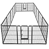 Giantex 16/8 Panel Pet Playpen with Door, Foldable Dog Exercise Pen, Portable Configurable Cat Chicken Rabbit Fence Outdoor Outdoor, Metal Pet Exercise Fence Barrier Kennel (16 Panels, 48'')