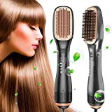 Hair Straightener Brush, 1200W Ionic Straightening Brush with 3 Heat Levels for All Hair Types, 2 in 1 Ceramic Hair Dryer & Straightener Brush for Home,Salon and Travel (Grey Black)