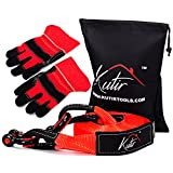 Kutir Recovery Tow Strap Kit 3' x 30' - 35,000 LBS Capacity Break Strength Vehicle Towing Rope , 3/4 D Ring Shackles (2pcs) Storage Bag with Work Gloves - Truck , Car , ATV Snatch