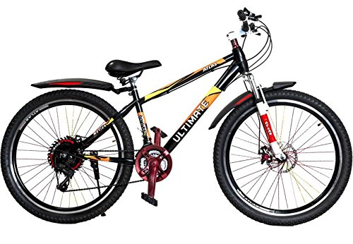 Atlas Motion Adults F/S 26 T 21 Speed Mountain Cycle with Steel Frame (Black, Orange)