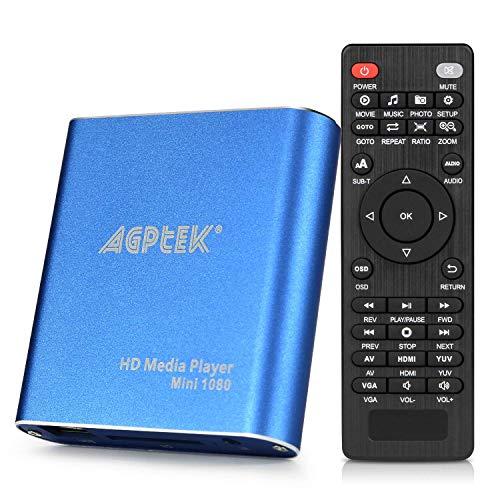 AGPtek Media Player 1080P HD Digital Media Player - MKV / RM - HDD SD / USB HDMI Supporto HDMI CVBS...