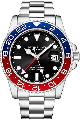 Stuhrling Original Herren Edelstahl Dreireihiges Armband GMT Uhr - Schweizer Quarz, Dual Time, Quickset Datum mit verschraubter Krone, wasserdicht bis 10 ATM (Blue/Red)