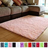 PAGISOFE Pink Fluffy Shag Area Rugs for Bedroom 5x7, Soft Fuzzy Shaggy Rugs for Living Room Carpet Nursery Floor Girls Room Dorm Rug