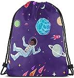 IUBBKI Spaceman en el espacio abierto flotando en antigravedad de dibujos animados de patrones sin fisuras Bolsa de gimnasio Mochila de viaje con cordón Mochila para hombres y mujeres Bolsa de deport