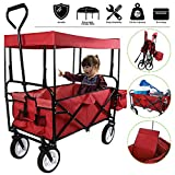 Collapsible Outdoor Utility Lightweight Wagon Cart with Top Canopy, Heavy Duty Folding Garden Portable Hand Cart, with Drink Holder, Suit for Shopping, Park Picnic and Camping (Red w top)