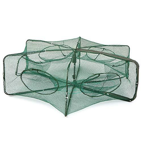 Lixada Rete da Pesca Pieghevole Esagonale con 6 Fori, Gabbia, Trappola per gamberoni, granchi, Esche (6 Fori)