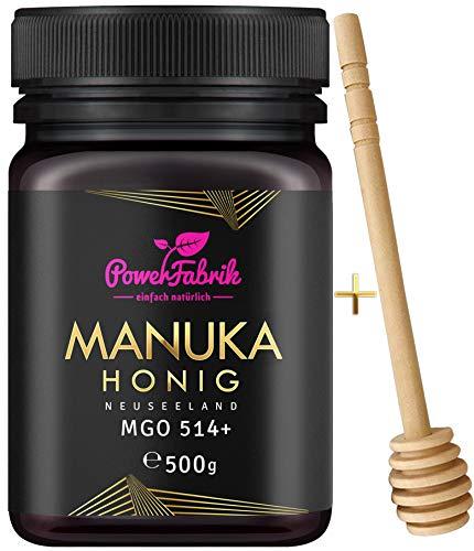 Manuka Honig | MGO 514+ | 500g | Das ORIGINAL aus NEUSEELAND | HOCHAKTIV, PUR, ROH & ZERTIFIZIERT | Premium Qualität 100% natürlich | INKL. GRATIS HONIGLÖFFEL aus Holz | PowerFabrik