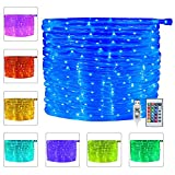 Ollny 100 LED/33ft Rope Lights Outdoor Halloween Christmas Waterproof String Twinkle Fairy Tube Lighting,USB Powered&Timer,4 Mode With Remote for Bedroom Wedding Party Home Indoor Decorations,16 Color