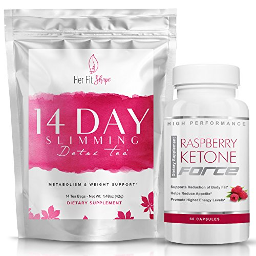 Raspberry Ketone Force and Her Fit Shape 14 Day Detox Tea Bundle - Natural Weight Loss Supplement and Tea Cleanse to Lose Weight - Improve Energy - Reduce Belly Fat and Bloating (2 Items) 1