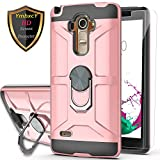 LG G Stylo Case,LG G4 Stylus Case (Not Fit LG G4) with HD Screen Protector YmhxcY 360 Degree Rotating Ring Kickstand Holder Dual Layers of Shockproof Phone Case for LG LS770-ZS Rose Gold