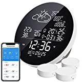 2021 WiFi Weather Station, Wireless Indoor Outdoor Digital Thermometer Hygrometer with 3 Outdoor Sensors, Weather Forecast Station with Backlight, Work with TUYA/Smart Life APP, for Greenhouse Cellar