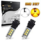 Partsam 2PCS 3157 Switchback LED Bulbs 4057 3156 P27W Dual Color Amber White Front Turn Signal Light High Power LED Light