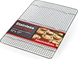 """AbsoluteBake Cooling Rack Stainless Steel – 12 x 17"""" – Fits in Half Sheet Cookie Pan/Baking Tray - Oven and Dishwasher Safe – Tight Grid Design Faster Cooling"""