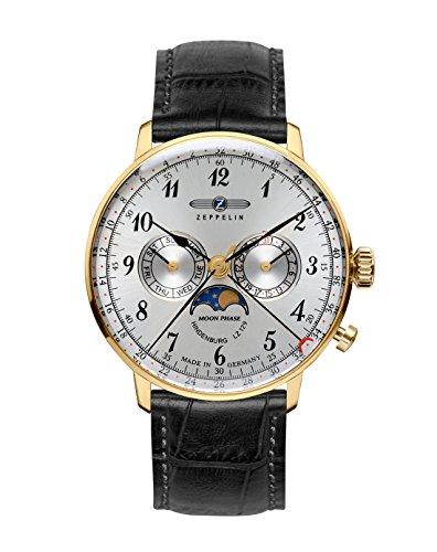 Zeppelin Unisex Chronograph Quarz Uhr mit Leder Armband 7038-1